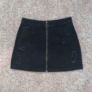 black tobi denim zip-up mini skirt